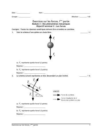 Exercices sur les forces et le principe d'inertie