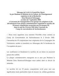 Message de S.A.R. le Grand-Duc Henri, lu par Madame la Ministre ...