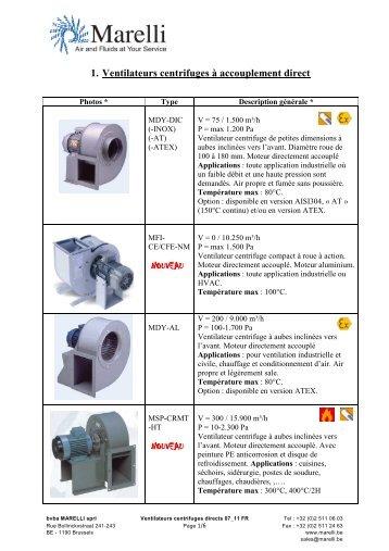 1. Ventilateurs centrifuges à accouplement direct ... - Marelli