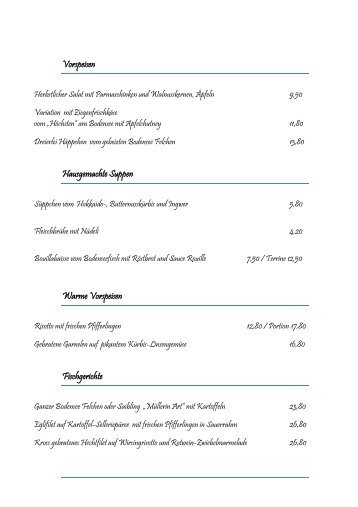 Speisekarte - Landgasthof Rebstock Egringen