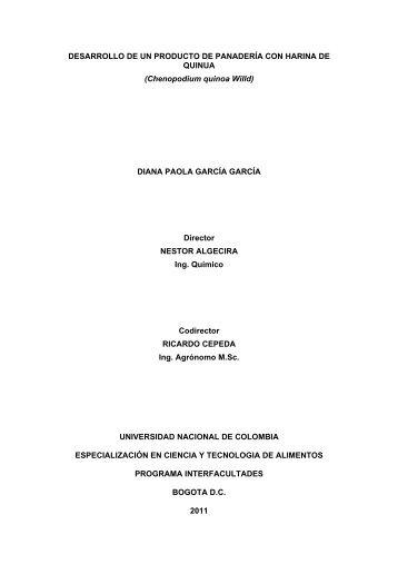 DESARROLLO DE UN PRODUCTO DE PANADERÍA CON HARINA ...