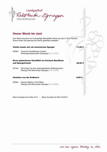 Unser Menü im Juni - Landgasthof Rebstock Egringen