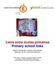 Liens entre écoles primaires Primary school links - Académie de ...