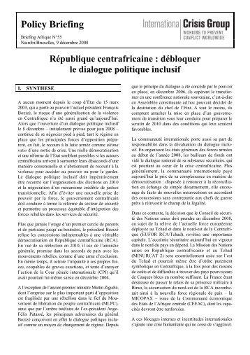 République centrafricaine : débloquer le dialogue politique inclusif
