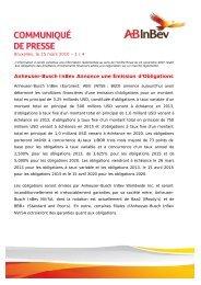 Anheuser-Busch InBev Annonce une Émission d'Obligations