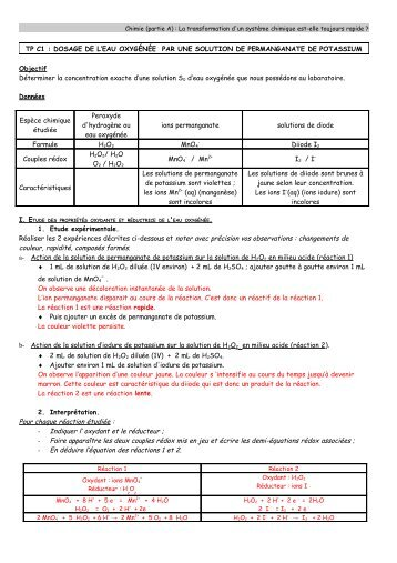 Tp n 1 spectrophotometrie dosage par etalonnage for Combien coute de l eau oxygenee