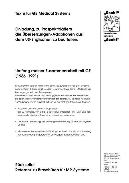 """Referenz zu Broschüren für MR-Systeme """"Oooh!"""" """"Aaah!"""" - Franz Pils"""