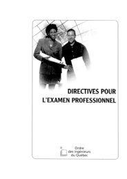 DIRECTIVES POUR L'EXAMEN PROFESSIONNEL - OIQ