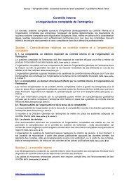 Contrôle interne et organisation comptable de l'entreprise