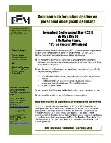 Programme et formulaire d'inscription - Éducatrices et éducateurs ...