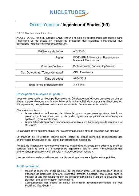 Offre D Emploi Ingenieur D Etudes H F Nucletudes