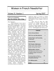 Women in French Newsletter - IPFW