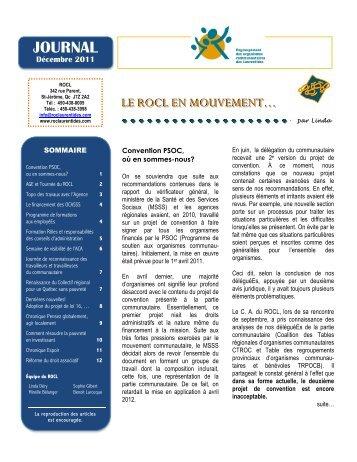 Journal Décembre 2011 - Regroupement des organismes ...