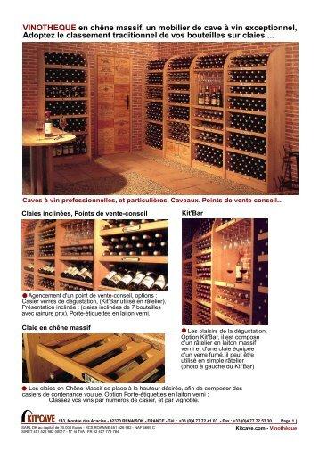 VINOTHEQUE en chêne massif, un mobilier de cave à vin ... - Kitcave