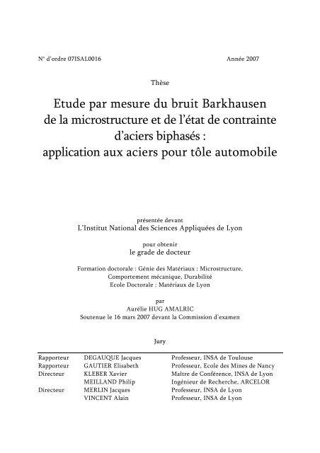 Etude Par Mesure Du Bruit Barkhausen De La Microstructure Et
