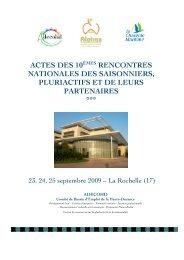 Les actes des 10° Rencontres Nationales 2009. - Maison du ...