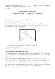 Exercice 1 - Mouvement le long d'un plan incliné. Exercice 2 - Point ...