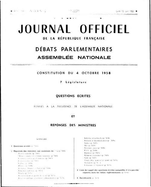 Journal Officiel Du Lundi 13 Juin 1983 Archives De L