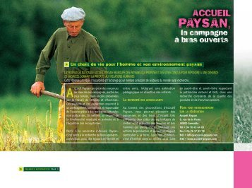 Un choix de vie pour l'homme et son environnement paysan - CCAS