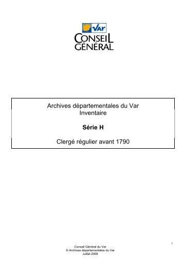 Archives départementales du Var Inventaire Série H Clergé régulier ...