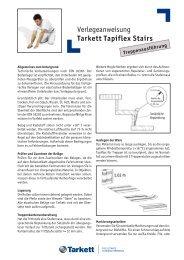 Verlegeanweisung Tarkett Tapiflex Stairs