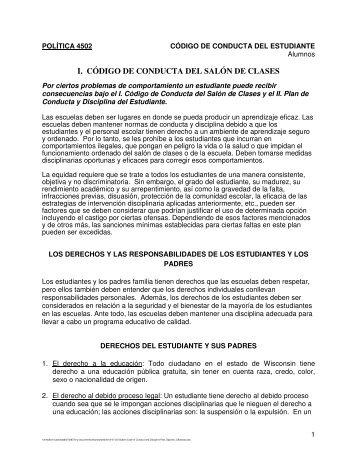 I. CÓDIGO DE CONDUCTA DEL SALÓN DE CLASES
