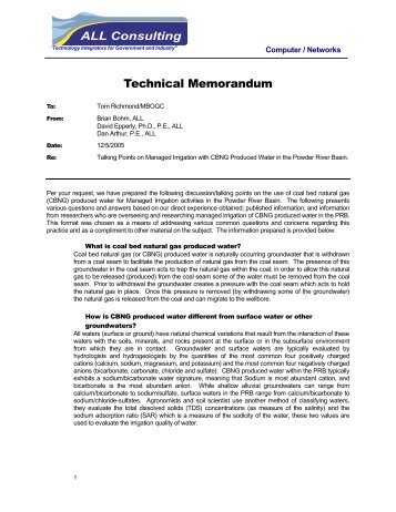 Technical Memo on Managed Irrigation - Montana Board of Oil and ...