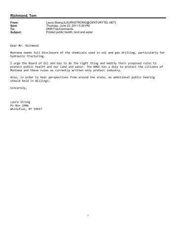 Late Written and Emailed Public Comments - Montana Board of Oil ...