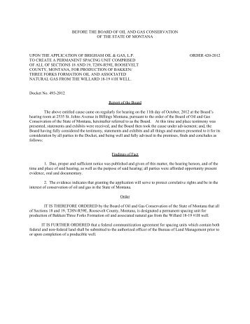 before the board of oil and gas conservation - Montana Board of Oil ...