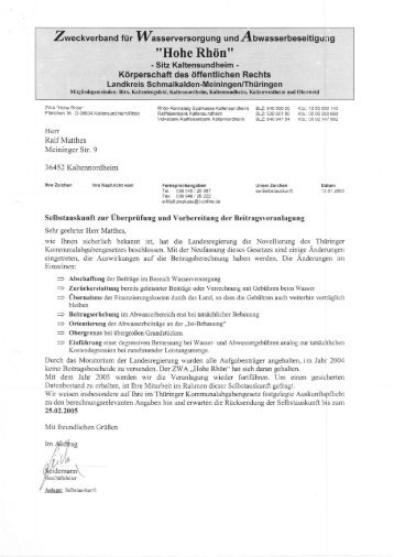 Beispiel einer Aufforderung zur Selbstauskunft im WVS ... - Diedorf
