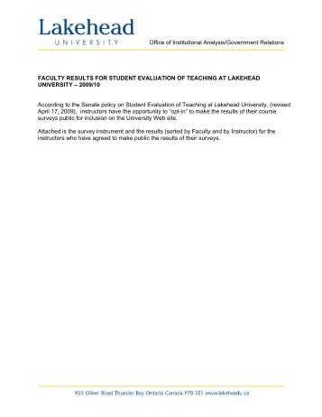 Phd Internship Student Evaluation Form - Psychology - Lakehead