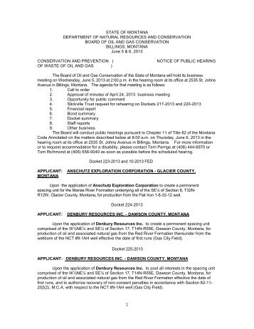 Docket 468-2006 - Montana Board of Oil and Gas