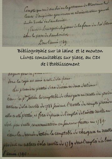 Bibliographie sur la laine et le mouton - Bergerie Nationale de ...