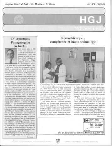 Hiver 1987-1988 - Hôpital général juif