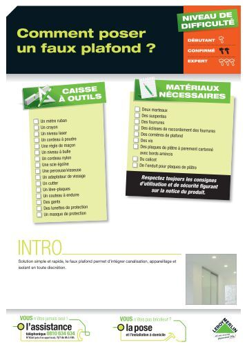 Plafonds placostil f 530 montage standard for Comment poser faux plafond