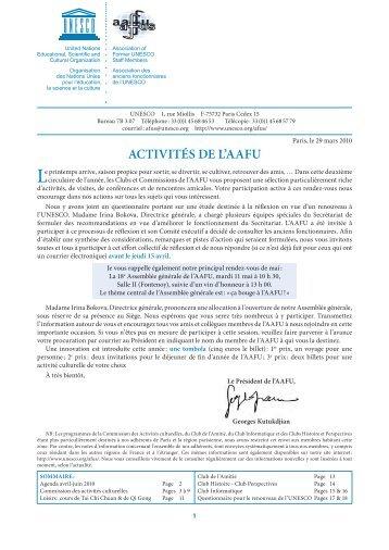 ACtivités de l'AAFU - Unesco