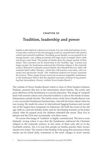 Tradition, leadership and power - Books and Journals