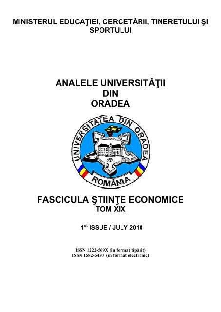 Analele Universit Din Oradea Fascicula Stiinţe Econ Nalele