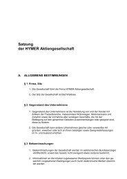 HYMER AG aktuelle Satzung