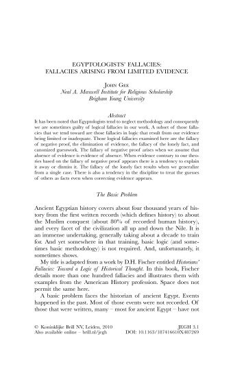 Egyptologists' Fallacies - Books and Journals