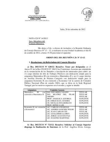Salta, 28 de setiembre de 2012 NOTA CD Nº 14/2012 Sres ...