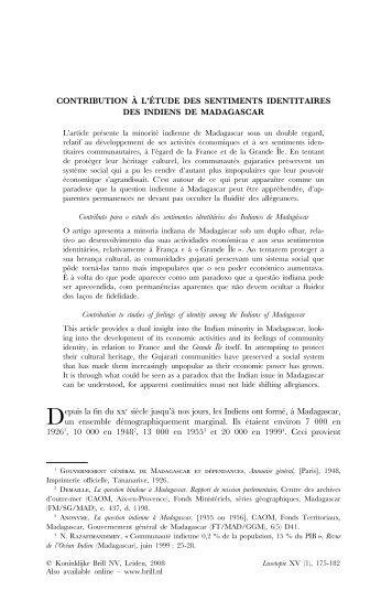 Contribution À L'étude des Sentiments Identitaires des Indiens de ...