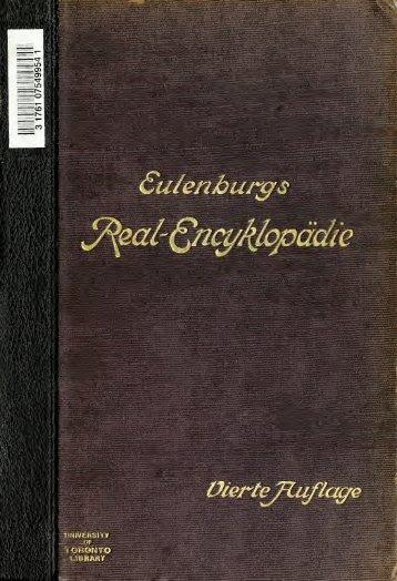 Real-Encyclopädie der gesamten Heilkunde. Ergänzungsband ...