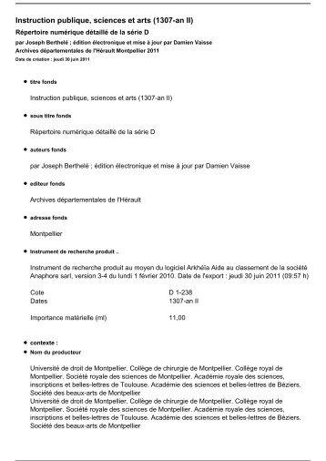 Inventaire en Pdf - Archives départementales de l'Hérault - Conseil ...