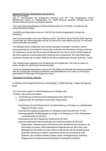 Insolvenz Stadtteilverein Osdorf e.V. - Die Borner Runde