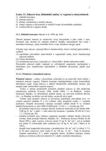 Lekce 11. Sukcese lesa, dlohodobé změny ve vegetaci a ...