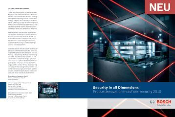 Produktinnovationen auf der Security 2010 (PDF 3,1 MB) - Bosch ...