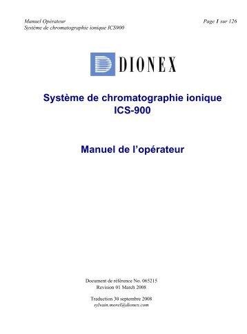 Système de chromatographie ionique ICS-900 Manuel de l'opérateur