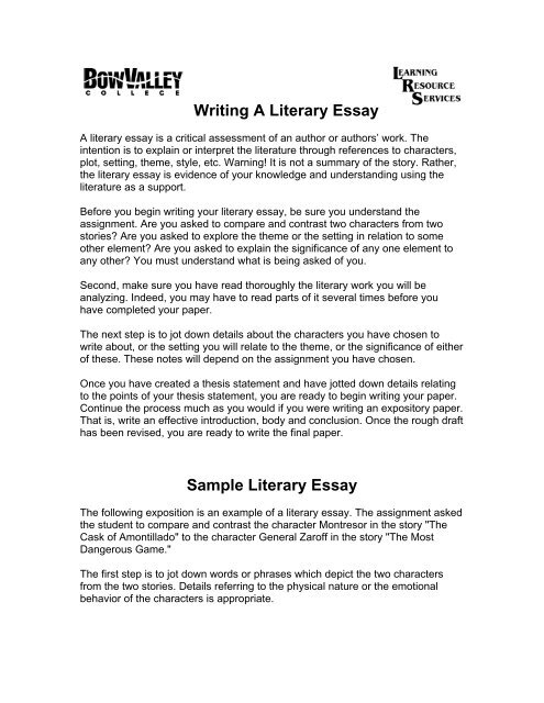 Essay Format Example For High School  Proposal Essay Format also English Essay On Terrorism Writing A Literary Essay  Bow Valley College Sample Thesis Essay