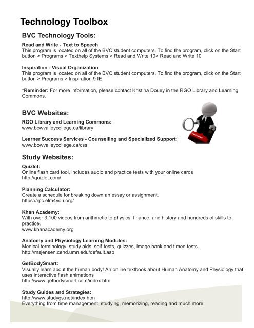 Technology Toolbox - Bow Valley College